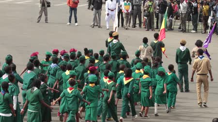 demokratický : Addis Ababa - May 5: Young children dressed in colourful traditional outfit march at the 74th anniversary of Patriots Victory day commemorating the defeat of the invading Italians on May 5, 2015 in Addis Ababa, Ethiopia.