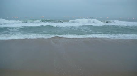 Waves of the Atlantic Ocean crashing on the shores of Benin at Obama Beach in      Cotonou