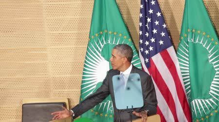 Addis Ababa - July 28: President Obama talks about create opportunity for the young generation during hisspeech at the African Union Conference Center,on July 28, 2015, at the in Addis Ababa, Ethiopia. Стоковые видеозаписи