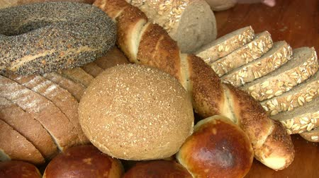 bakery : Different kind of bread Stock Footage