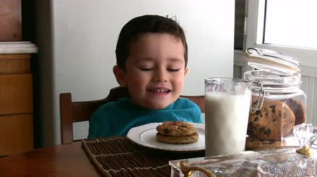comiendo : Little Boy y sus deliciosas galletas con chispas de chocolate