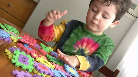alphabet : Little Boy Playing educational Toy
