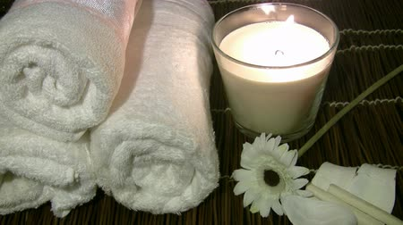 towel : Spa products Stock Footage