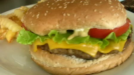 meal : Cheeseburger and French fries with mustard Stock Footage