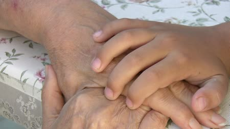 sociedade : Little boy and grandmother Hands Stock Footage