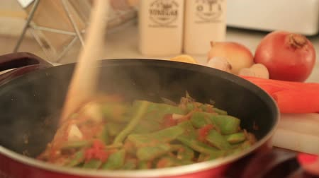 serpenyő : Cooking Green beans in pan
