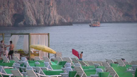 tripping : Beach scene at Alanya Turkey Stock Footage
