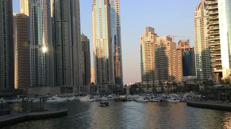 cayan tower : Dubai Marina Life at sunset United Arab Emirates 04 jan 2015