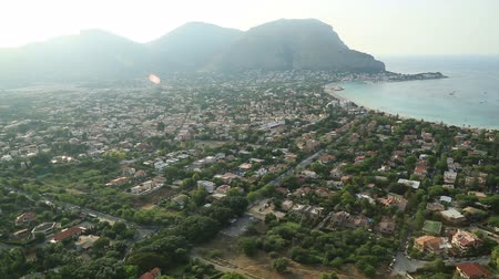 szicília : Mondello beach areal view