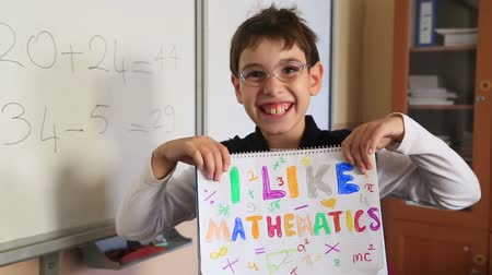 matemática : Schoolchild showing like at classroom