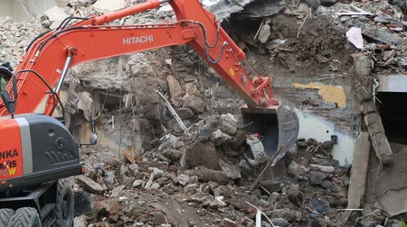 tracked : House demolition with bulldozer Stock Footage