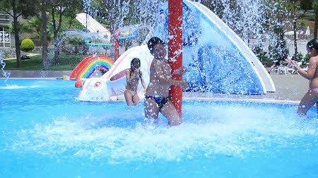 waterslide : Portrait of a kids having fun at aquapark during summer holiday