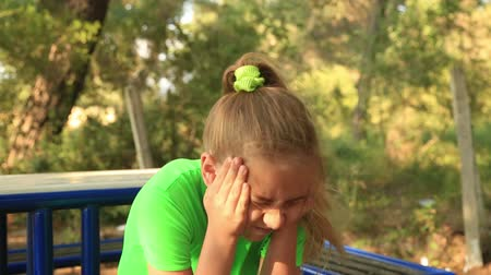 sulky : Portrait of a sulky young girl Stock Footage