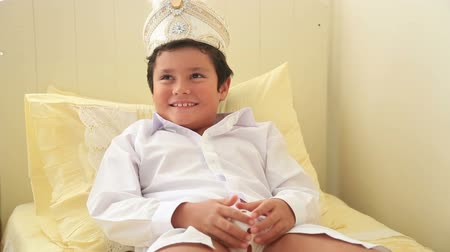 jewish celebration : Portrait of a  happy child after circumcision operation smiling to cemera
