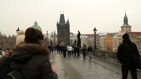 mala : View on Prague and  Tourists People Time lapse from Charles Bridge Prague Czech Republic February  07, 2017