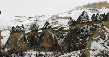 travertino : Beautiful geological formations in Cappadocia at winter