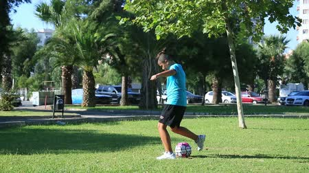 tekmeleme : Young boy playing soccer on soccer field