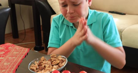 itchy : Young boy having allergic reaction on skin to food. People and food allergy concept Stock Footage