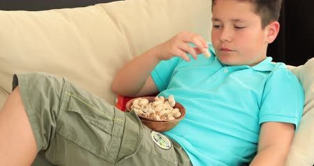 dilis : Portrait of a young preteen boy lying on sofa watching television and eating healthy snack