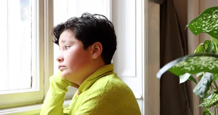 pré adolescente : Portrait of a child little boy with winter clothes  sitting by the window  looking at the winter view
