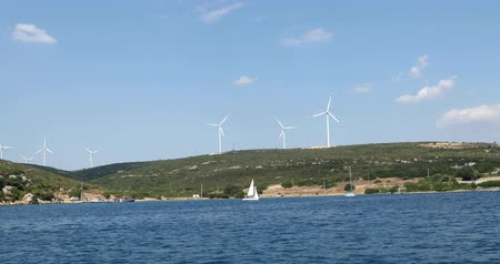 watt : Clean energy powerplant Wind turbines farm and Mediterranean sea coast