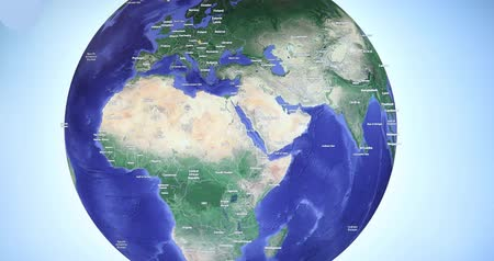 partially : Earth globe with blue background rotating Stock Footage