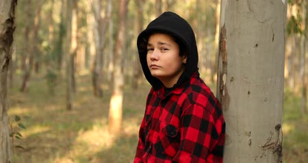 durulması : Portrait of a one caucasian teenage boy at the forest hiking looking at the camera seriously Stok Video