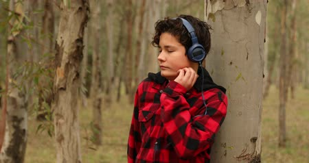 pólen : Teenage boy has allergies with mosquitoes bite. Listening to music in the forest