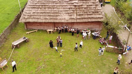 poeta : Nahuievychi village, Lviv, Ukraine - August 26, 2018: Celebrating the anniversary of the birthday of the prominent Ukrainian poet Ivan Franko, fair and tourists. Ivan Franko Museum place. Aerial view