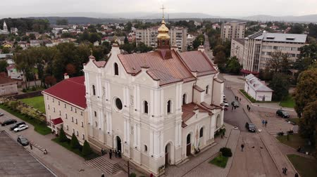 drohobych : Aerial view of Cathedral of the Holy Trinity in Drohobych city, Ukraine. Architecture and cityscape. Smooth flight up technique