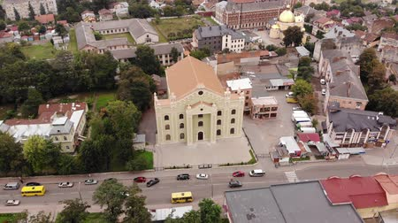choral : Aerial view of renewed Choral Synagogue in Drohobych, Ukraine. Flight around technique