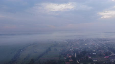 surroundings : Atmospheric pollution. Burning weeds on the field, smoke, damage to environment. Autumn time, rural area. Aerial view from drone
