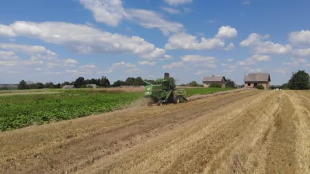 reaping : Drohobych, Ukraine - 04 July, 2018: Combine harvester John Deere 935 threshing wheat on the field, countryside. Slow motion. Editorial Use Only