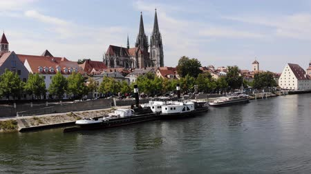 Regensburg, Germany - 26 July, 2018: Regensburg Museum of Danube Shipping, popular tourist destinations. Tourist ship on Danube river Стоковые видеозаписи