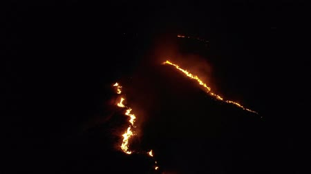 Aerial view of burning dry grass in the field, top view. Theme of disaster and emergency events, negative impact on flora. Night Shot Стоковые видеозаписи