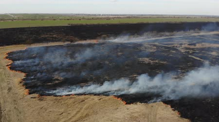 Aerial view of burning dry grass in the field. Crane shot and tilt technique. Disaster and emergency events, atmospheric pollution