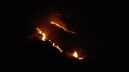 Aerial view of burning dry grass in the field, one point view. Theme of disaster and emergency events, negative impact on flora. Night Shot
