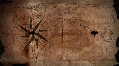 old map with a compass needle Stok Video
