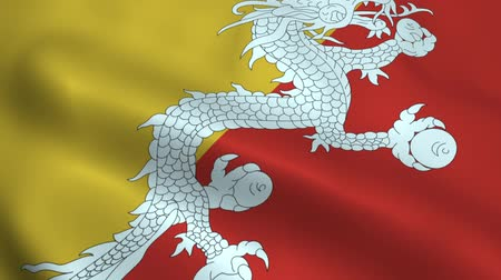 north vietnam : Realistic Bhutan flag Stock Footage