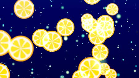 cytryna : Flying Fruits. Abstract Loopable Background