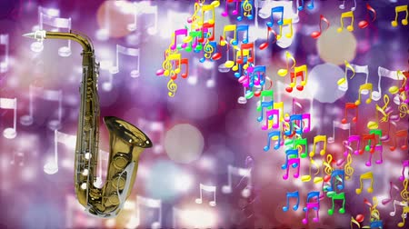 woodwind : HD Loopable Background with nice abstract saxophone Stock Footage