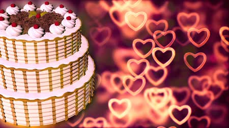 день рождения : Wedding cake with nice Loopable Abstract Background.