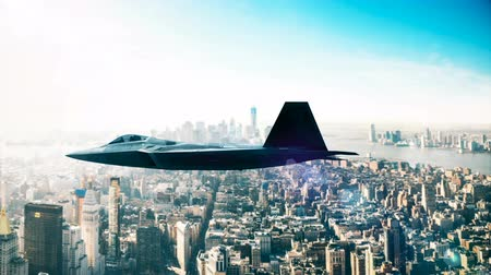 lutador : F-22 Fighter Jet, flying over city