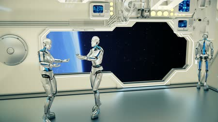 光沢のある : Androids on a spaceship arguing on background planet Earth. A futuristic concept of a UFO. 動画素材