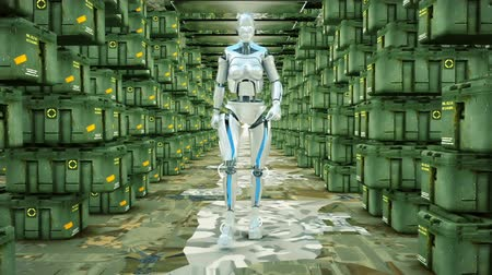 caracteres : Futuristic humanoid robot walking on a military warehouse. Loopable.