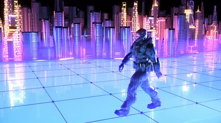 humanidade : Futuristic soldier on a future city background. Stock Footage