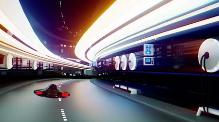 mértani : futuristic flying cars with futuristic police in sci fi tunnel. Loopable.