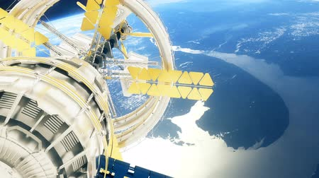 orbital : Space station flies around the Earth. Beautiful detailed animation. Stock Footage