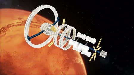 Марс : Space station flies around the Mars. Beautiful detailed animation.