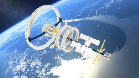 roket : Space station flies around the Earth. Beautiful detailed animation. Stok Video